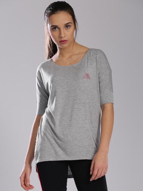 Kappa Women Grey Melange Solid Round Neck T-shirt