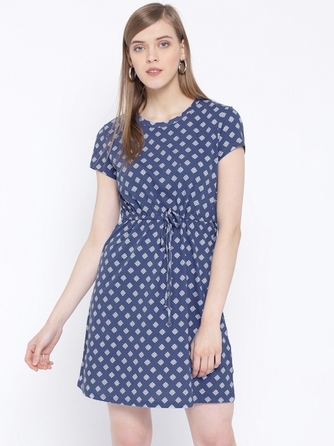 United Colors of Benetton Women Blue & White Printed Dress
