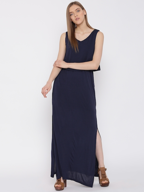 United Colors of Benetton Women Navy Blue Solid Layered Maxi Dress