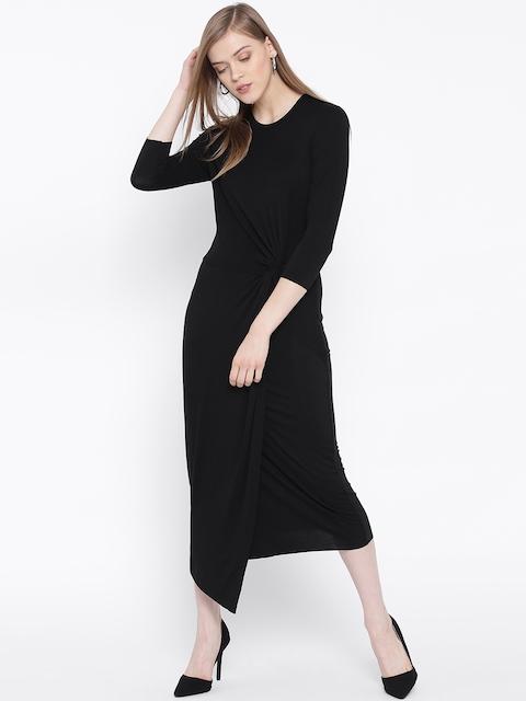 United Colors of Benetton Women Black Solid Midi Sheath Dress