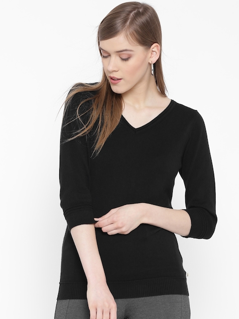 United Colors of Benetton Women Black Solid Sweater