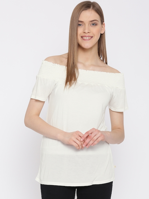 United Colors of Benetton Women Off-White Solid Bardot Top