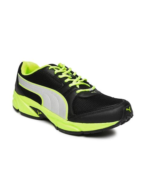 Puma Men Black & Fluorescent Green Strike Fashion Running Shoes