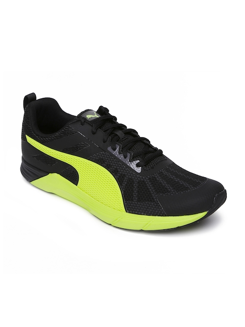 Puma Men Black & Neon Green Propel Running Shoes