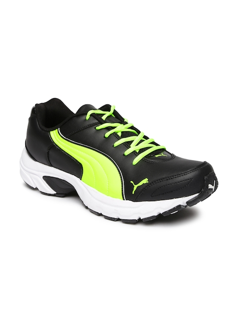 Puma Men Black & Fluorescent Green Axis Running Shoes  available at myntra for Rs.1399