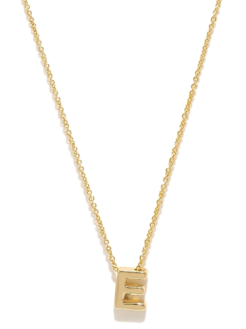 Accessorize Gold-Plated E-Shaped Pendant with Chain