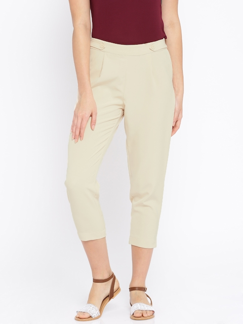 109F Women Cream Solid Trousers