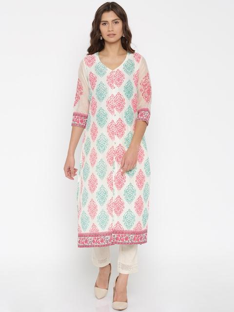Melange by Lifestyle Women Off-White & Pink Printed Straight Kurta