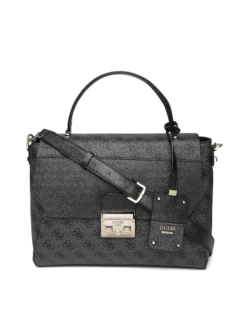 GUESS Charcoal Grey & Black Printed Satchel with Sling Strap