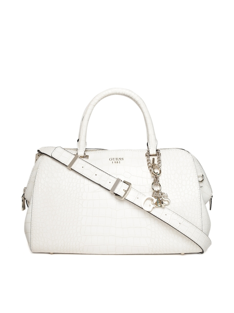 GUESS Off-White Croc-Textured Handheld Bag with Sling Strap