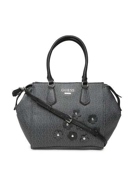 GUESS Charcoal Grey Printed Handheld Bag with Sling Strap