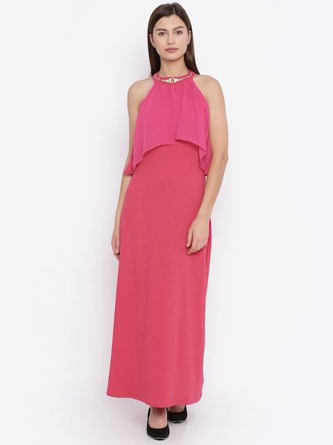 AND Women Pink Solid Maxi Dress