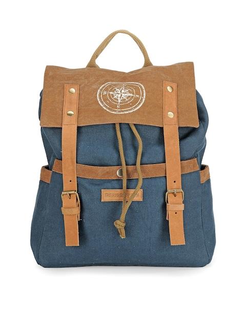 The House of Tara Unisex Blue & Brown Colourblocked Backpack