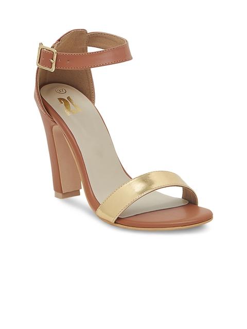 20Dresses Women Tan Brown & Gold-Toned Heels