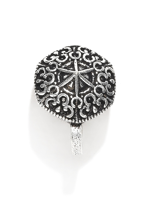 FIROZA Oxidised Silver-Toned Textured Clip-On Nosepin