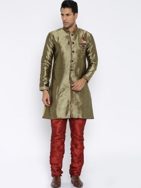 RG DESIGNERS Bronze-Toned & Maroon Embroidered Sherwani