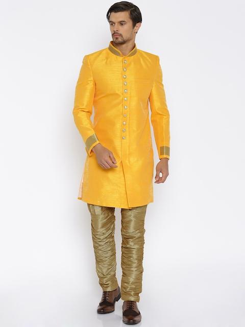 RG DESIGNERS Orange & Gold-Toned Sherwani