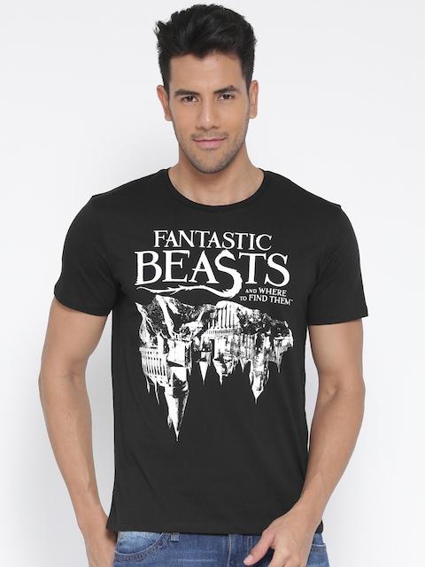 Harry Potter Men Black Printed Round Neck T-shirt