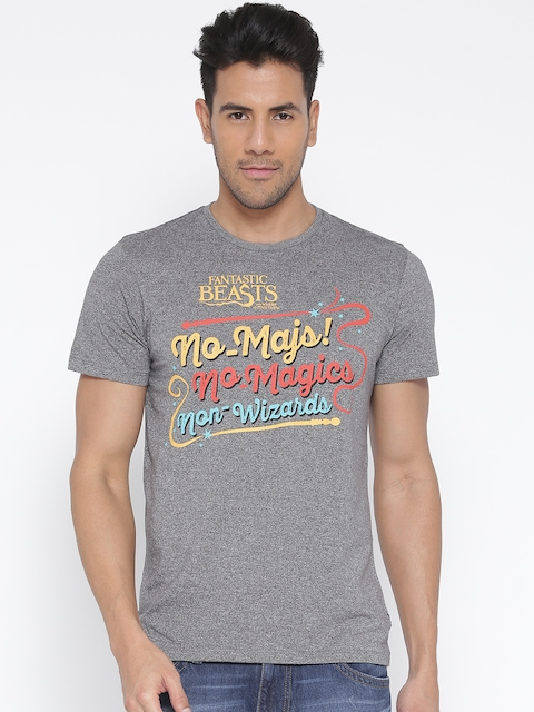 Harry Potter by Free Authority Men Grey Printed Round Neck T-shirt
