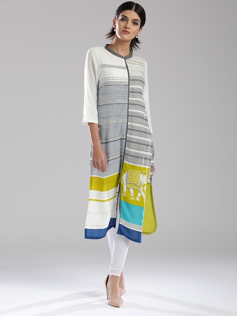 W Women Off-White & Grey Striped Straight Kurta