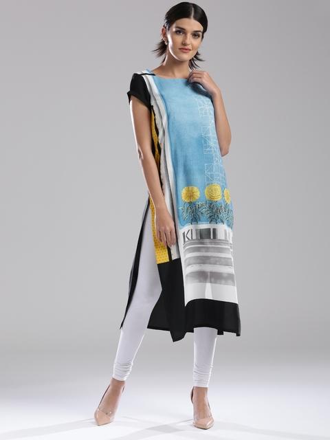 W Women Blue & Black Printed Straight Kurta