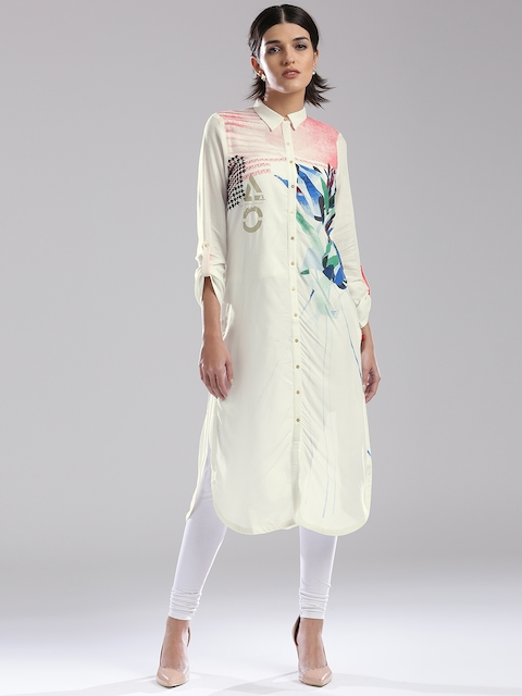 W Women White Printed Pathani Kurta
