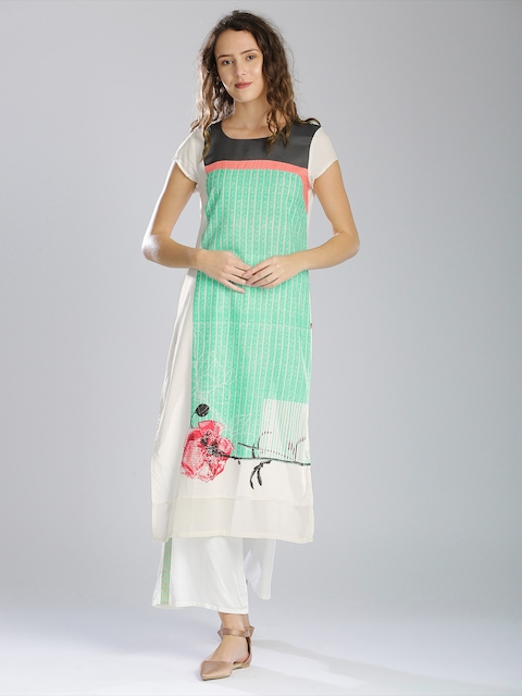 W Women Sea Green & White Striped Printed Straight Kurta