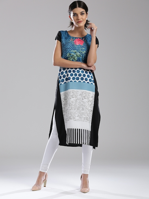 W Women Blue & Black Printed Straight Kurta