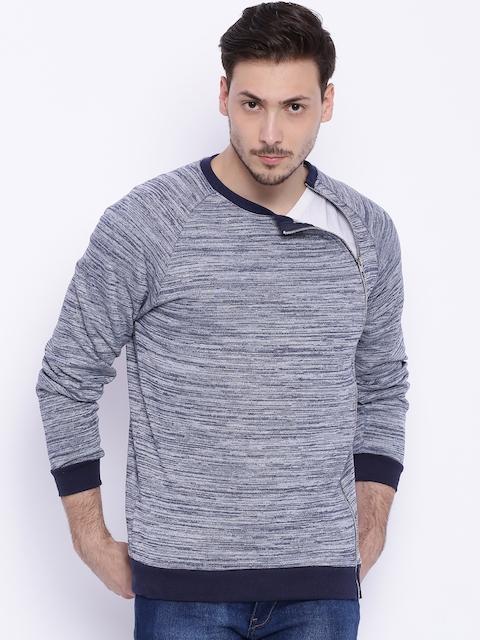 Campus Sutra Blue & Grey Sweatshirt