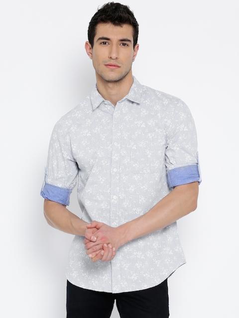 Jack & Jones Men Blue Linen Slim Printed Chambray Shirt