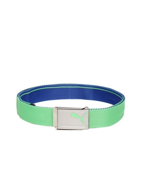 Puma Men Green & Blue Reversible Webbing Belt