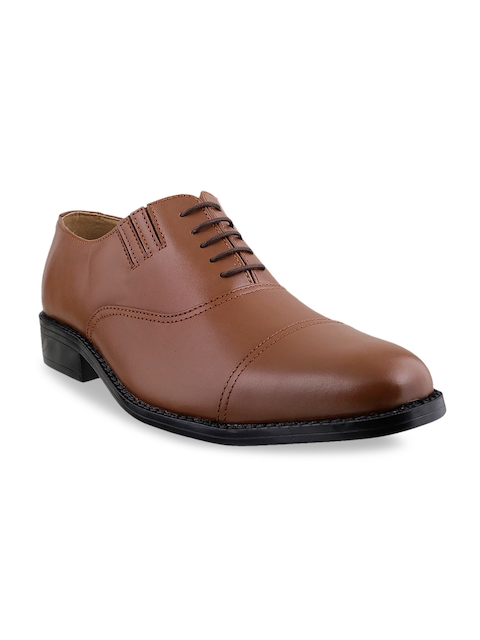 Mochi Men Tan Brown Leather Oxford Shoes
