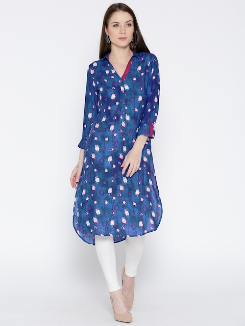 Biba Women Blue Printed Pathani Kurta