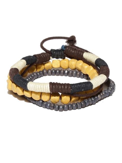 The Bro Code Men Brown & Navy Blue Set of 3 Beaded Bracelets
