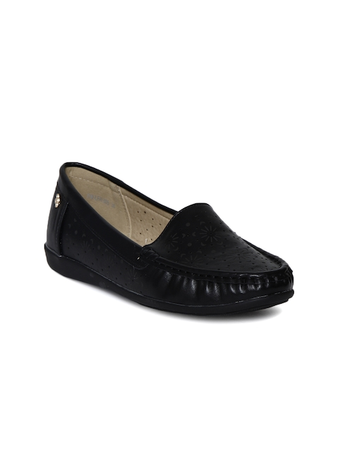 Addons Women Black Perforated Loafers