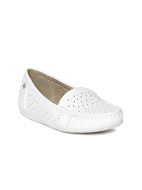 Addons Women White Perforated Loafers