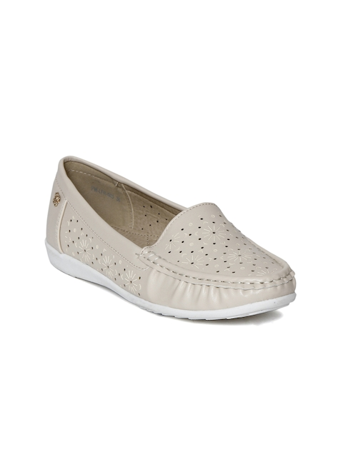 Addons Women Beige Perforated Loafers