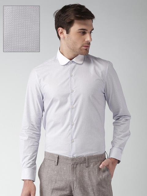 INVICTUS Men Blue & White Slim Fit Printed Formal Shirt