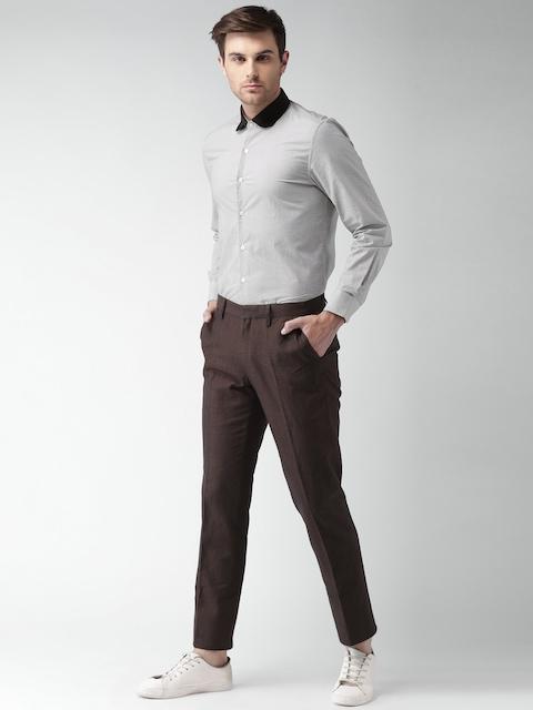 INVICTUS Men Black & White Printed Slim Fit Formal Shirt