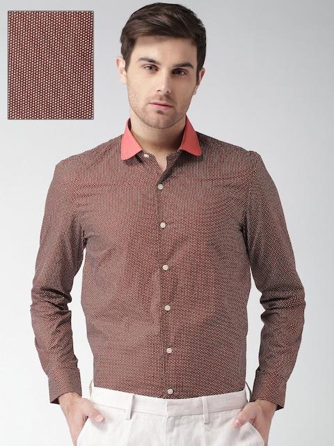 INVICTUS Men Red Slim Fit Printed Formal Shirt