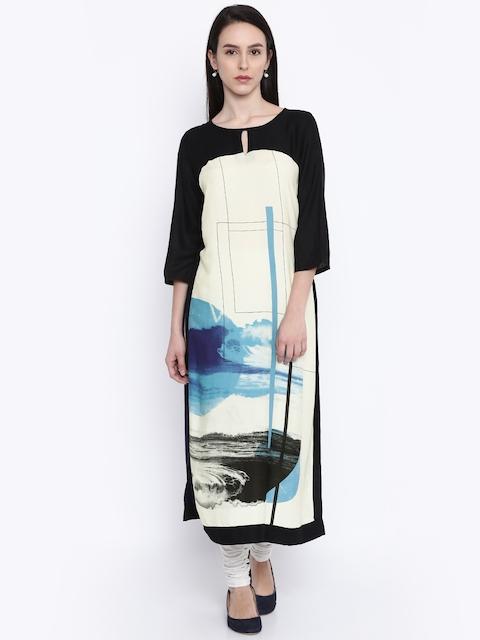 RANGMANCH BY PANTALOONS Women Cream & Navy Printed A-Line Kurta