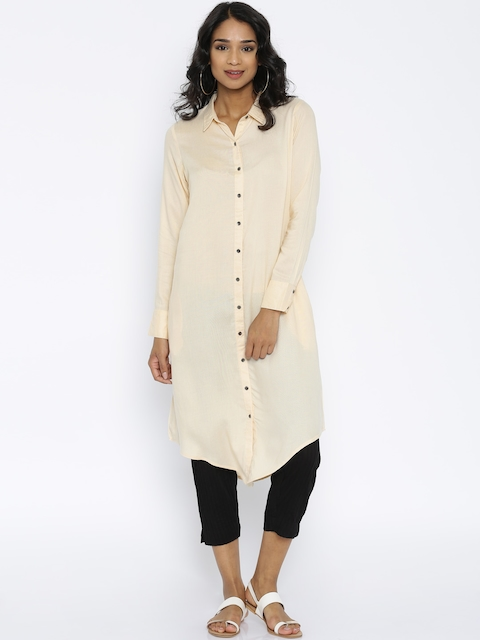 Melange by Lifestyle Women Cream-Coloured Solid Straight Kurta