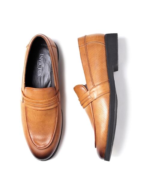 INVICTUS Men Tan Brown Textured Semiformal Slip-Ons