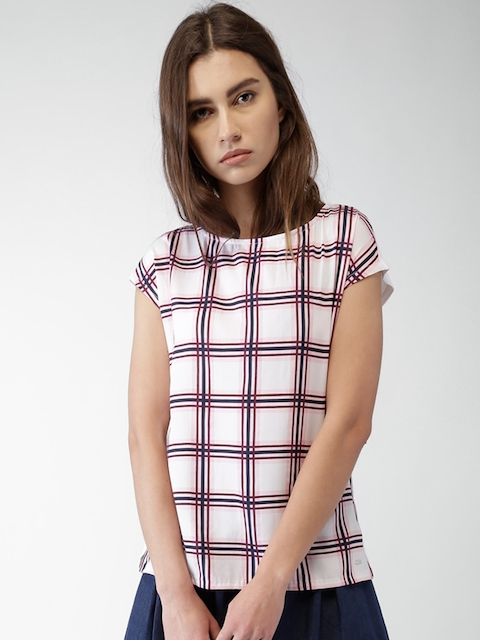 Tommy Hilfiger Women White & Pink Checked Top