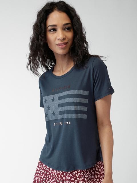 Tommy Hilfiger Women Navy Blue Printed T-shirt