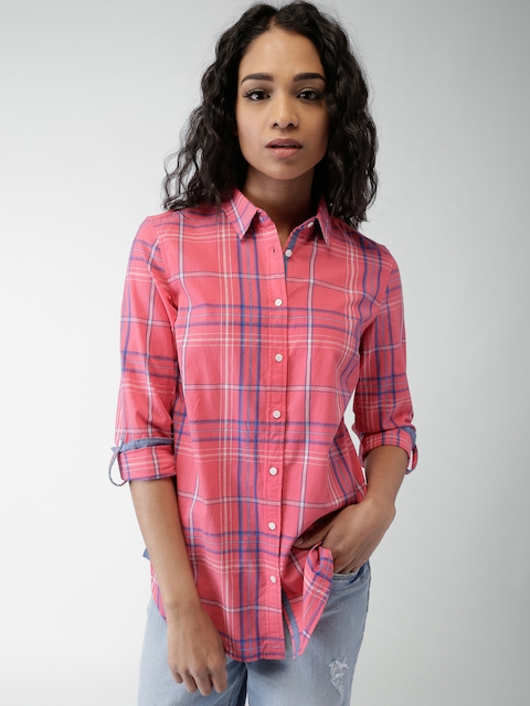 Tommy Hilfiger Women Pink Checked Casual Shirt