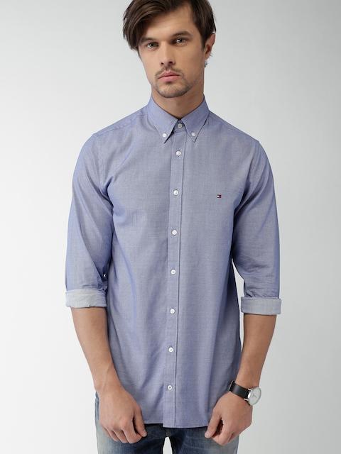 Tommy Hilfiger Men Blue Slim Fit Self-Design Casual Shirt