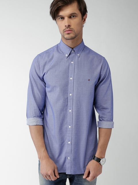 Tommy Hilfiger Men Blue Slim Fit Self-Design Casual Shirt