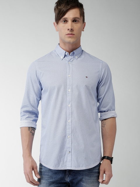 Tommy Hilfiger Men Blue Slim Fit Printed Casual Shirt