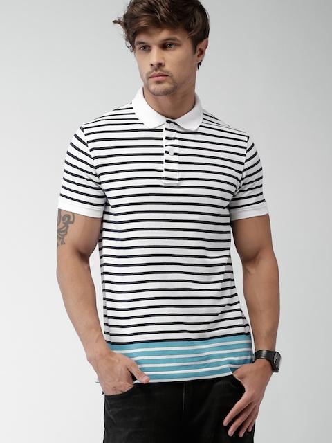 Tommy Hilfiger White & Black Striped Slim Fit Polo T-Shirt